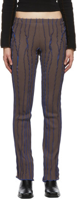 Helenamanzano SSENSE Exclusive Brown and Blue 3D Stripe Lounge Pants