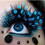 Women 1 Pairs Fancy Deluxe Long Feather False Eyelashes Eye Lashes for Halloween Party (Sky Blue)