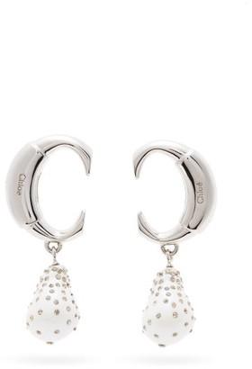 Chloé Darcey Crystal-embellished Logo Drop Earrings - Womens - Pearl