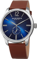 Akribos XXIV Mens Brown Strap Watch-A-916ssbu