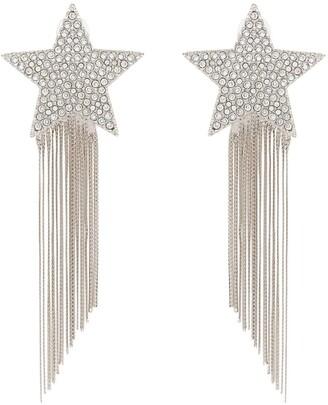 Saint Laurent silver metallic shooting star tassel drop earrings