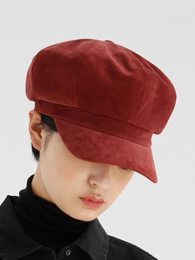 Corduroy Beret in Night Red