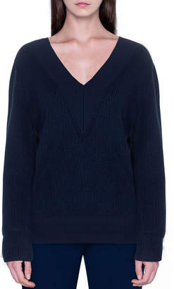 Akris Cashmere Silk Ribbed V-Neck Sweater