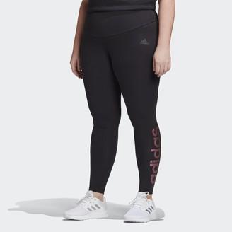 adidas Essentials Branded High-Rise Leggings (Plus Size)