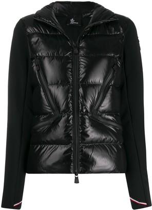 Moncler bi-material zipped jacket