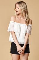 Honey Punch Ruffled Off-The-Shoulder Top