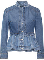 Alexander McQueen Layered Denim Peplum Jacket - Mid denim