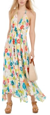 Kate Spade Floral Print Halter Maxi Dress Swimsuit Cover-Up Women's Swimsuit