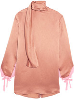 Valentino Silk Chiffon-trimmed Hammered-satin Blouse - Copper
