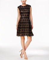 Vince Camuto Sequined Lace Fit & Flare Dress