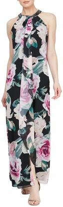 Slny Floral Embellished Neck Maxi Dress