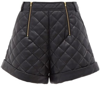 Self-Portrait High-rise Quilted Faux-leather Shorts - Black