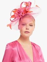John Lewis & Partners Alexia Feather Quills Veil Fascinator, Pink/Orange