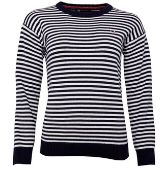 Crew Clothing Womens Micro Stripe Knit Jumper Navy/White Linen