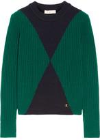 Tory Burch Poppy Ribbed Intarsia Wool-blend Sweater - Green