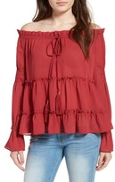 Sun & Shadow Women's Tiered Off The Shoulder Blouse