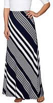 Susan Graver Striped Liquid Knit Maxi Skirt - Petite