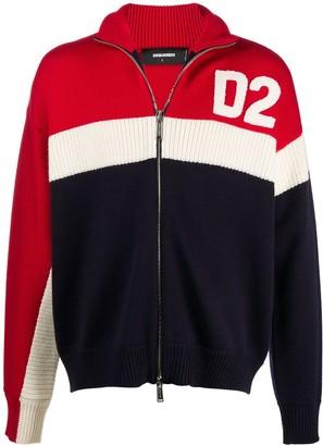 DSQUARED2 Logo-Patch Zip-Up Cardigan