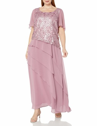 Le Bos Women's Plus Size Embroidered Sequin MESH Tiered Long Dress