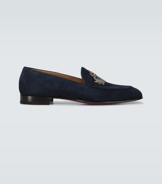 Christian Louboutin Crest on the Nile velvet loafers
