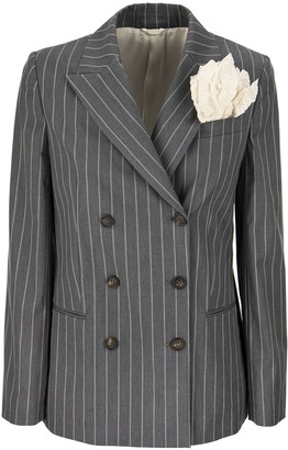Brunello Cucinelli Comfort Cotton Pinstripe Blazer With Silk Pocket Square And Monili