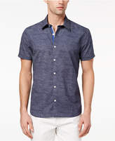 Ryan Seacrest Distinction Men's Slim-Fit Navy/White Broken-Stripe Sport Shirt, Created for Macy's