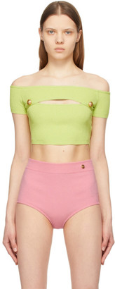 Balmain Green Off-The-Shoulder Cropped Tank Top