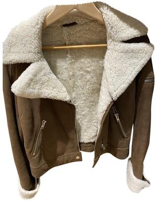 Gerard Darel Beige Mongolian Lamb Leather Jacket for Women