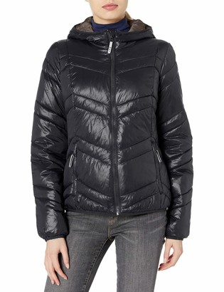 Andrew Marc Women's Packable Hooded Jacket with Contrast Lining