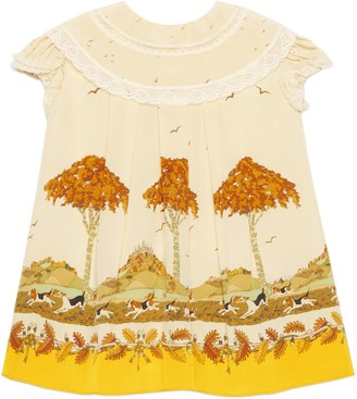 Gucci Baby dogs and trees print silk dress