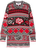 MSGM Oversized Intarsia Wool-blend Sweater - Red