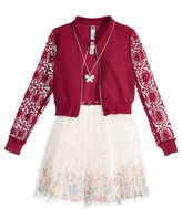 Beautees 2-Pc. Lace Bomber Jacket and Dress Set With Coordinating Necklace, Big Girls (7-16)