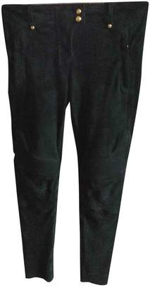 Balmain For H&M For H&m Green Suede Trousers