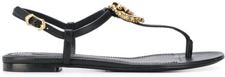 Dolce & Gabbana logo plaque T-bar sandals