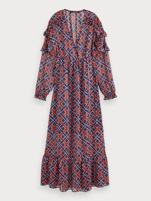 Scotch & Soda Sheer Feminine Maxi Dress in Red Blue - medium