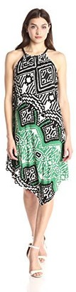 MSK Women's Halter Knit Dress with Placement Print with Rope Neck