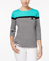 Karen Scott Striped Colorblocked Active Top, Only at Macy's