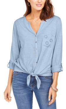 Style&Co. Style & Co Eyelet-Pocket Tie-Front Top, Created for Macy's