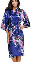 FLYCHEN Women's Satin Dressing Gowns Peacock and Blossoms Kimono Robes US 10-12 XL
