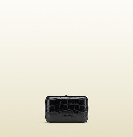 Gucci Broadway Crocodile Metal Frame Evening Bag