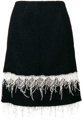 Calvin Klein embroidered fringe midi skirt