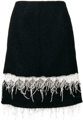 Calvin Klein Embroidered Fringe Midi Skirt