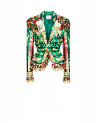 Moschino Nappa Leather Jacket Matador Woman Green Size 40 It - (6 Us)
