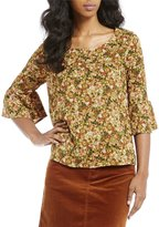 Copper Key Ditsy Floral Printed Bell Sleeve Top