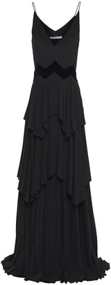 Givenchy Tiered Velvet-trimmed Crepe Gown