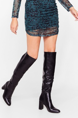 Nasty Gal Womens Show Up Over-the-Knee Faux Leather Boots - Black