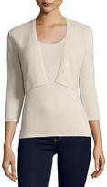 Neiman Marcus 3/4-Sleeve Modern Cashmere Shrug