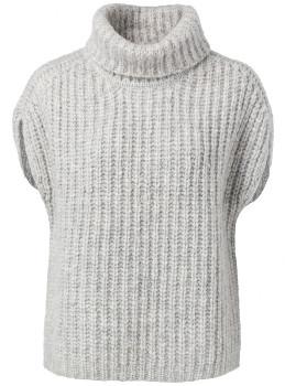 Ya-Ya High Neck Sleeveless Sweater - grey   large - Grey/Grey