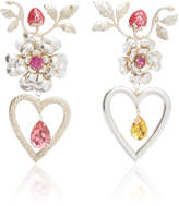 Rodarte Silver Flower Heart and Strawberry Earrings with Swarovski Crystal Details