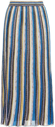 M Missoni Pleated Metallic Striped Knitted Midi Skirt